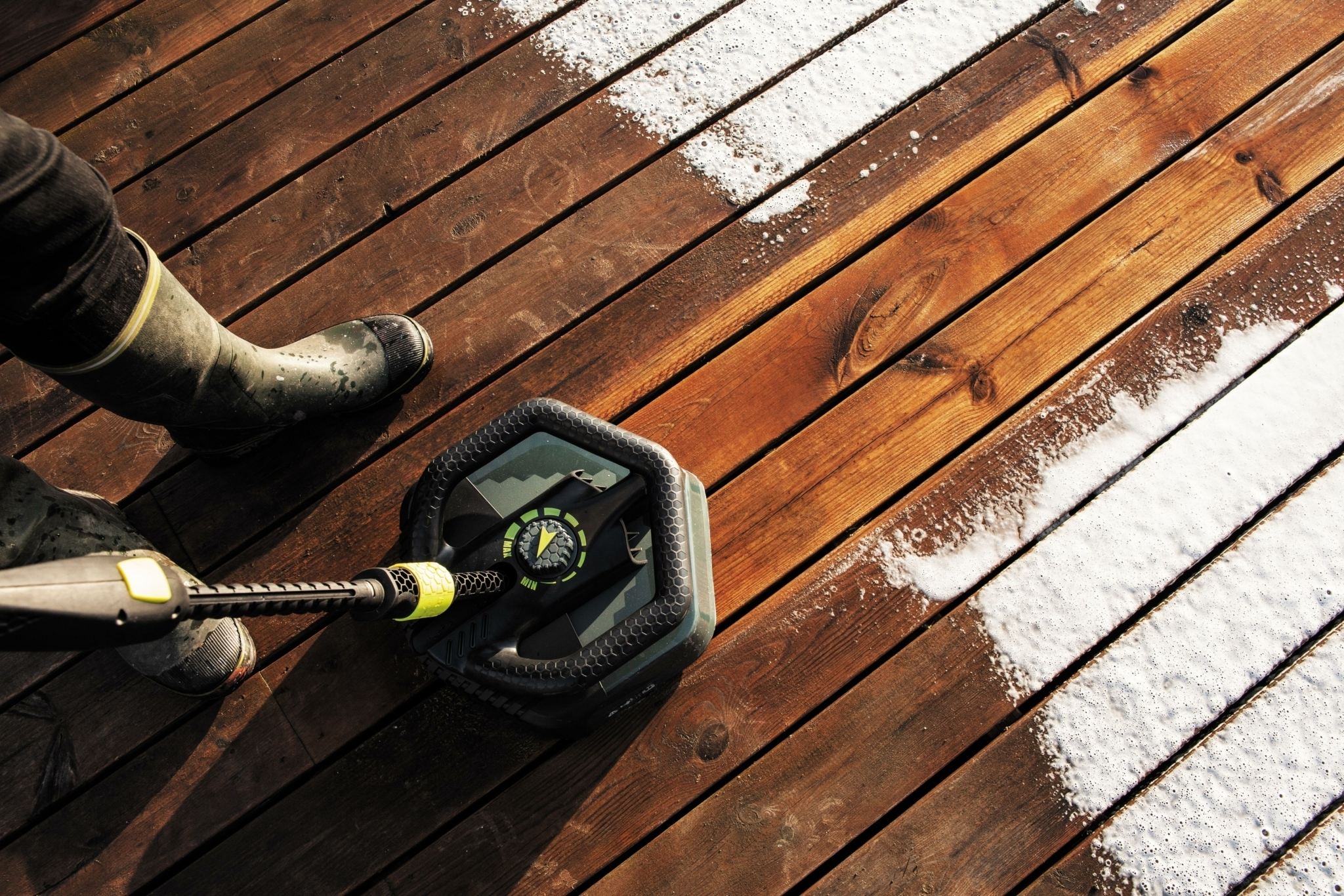 AVA Patio Cleaner on wooden decking
